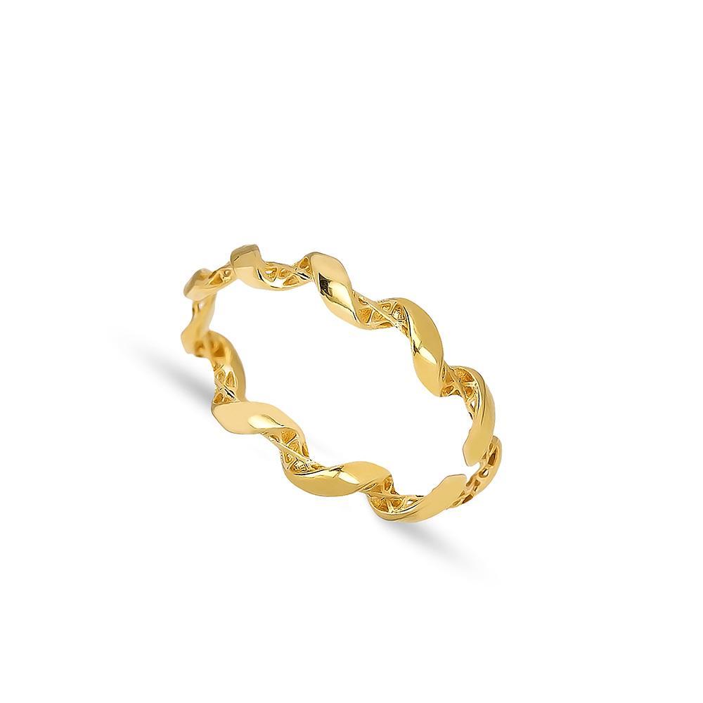 Wavy Design Ring 14 k Wholesale Handmade Turkish Gold Jewelry