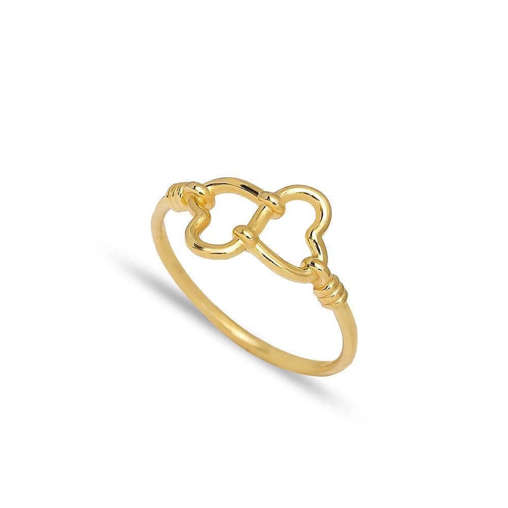 Double Heart Design Ring 14 k Wholesale Handmade Turkish Gold Jewelry