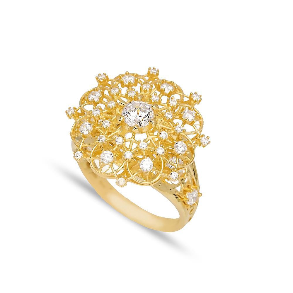 Plain Flower Ring 14 k Wholesale Handmade Turkish Gold Jewelry