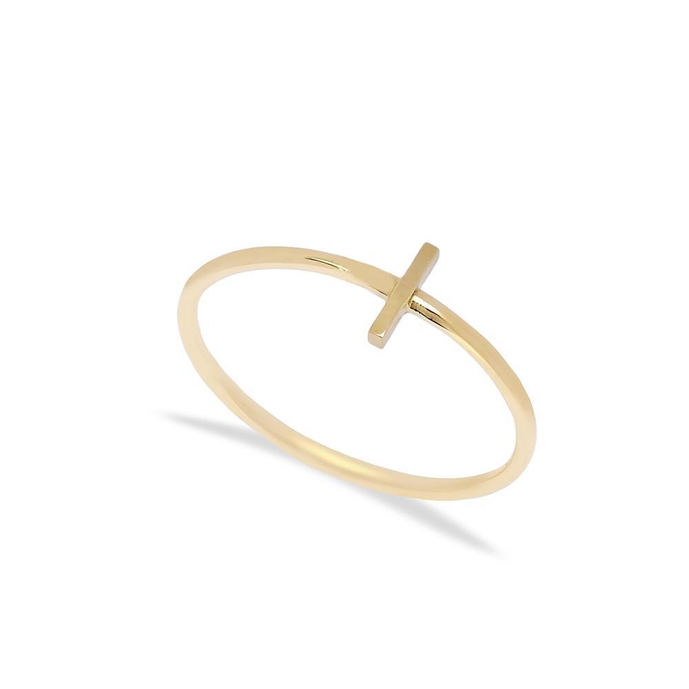 I Letter Ring 14 k Wholesale Handmade Turkish Gold Jewelry