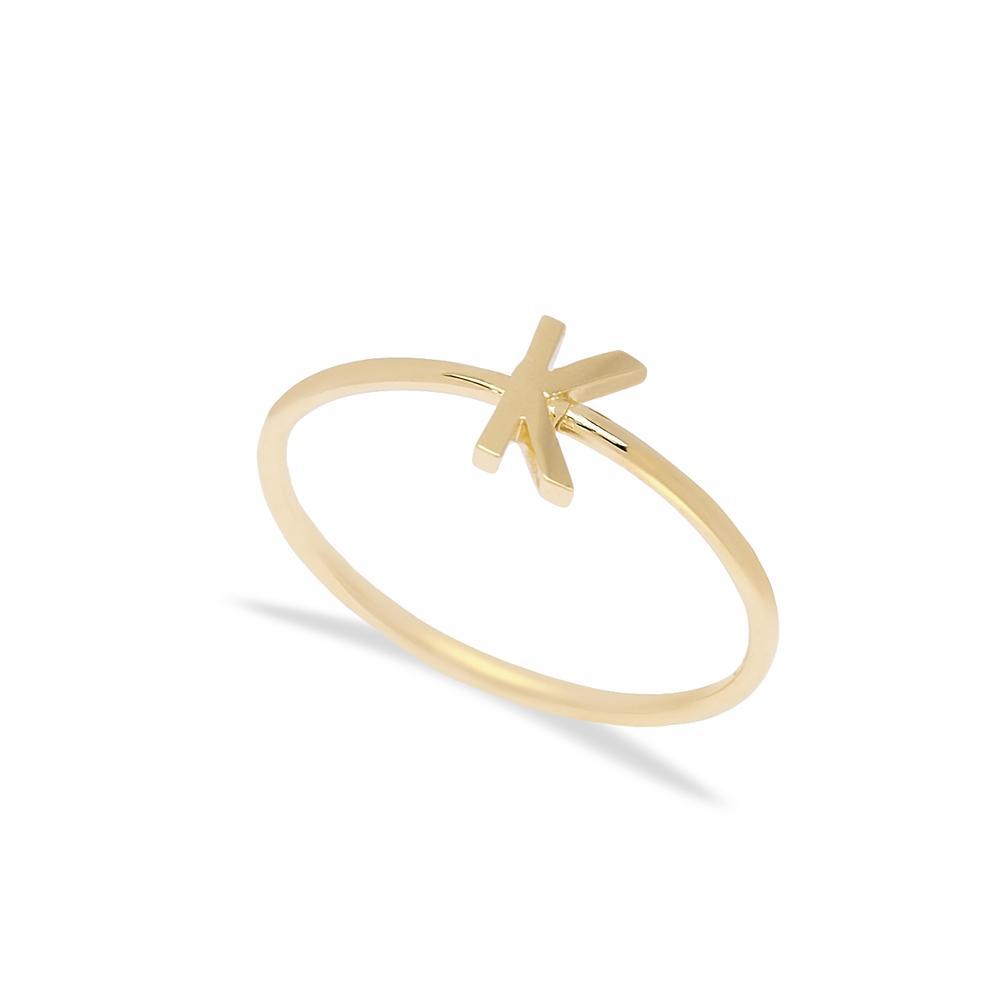 K Letter Ring 14 k Wholesale Handmade Turkish Gold Jewelry