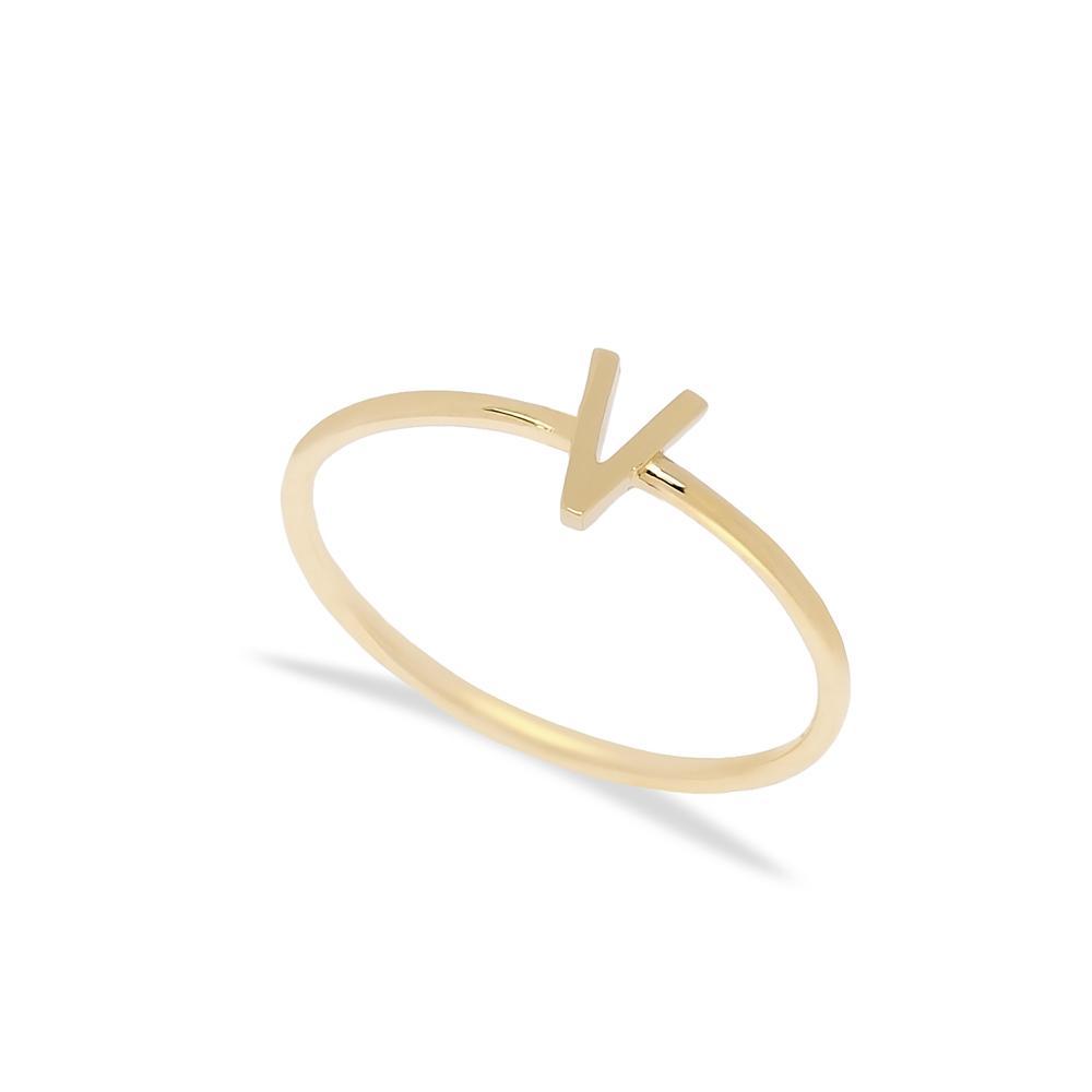 V Letter Ring 14 k Wholesale Handmade Turkish Gold Jewelry