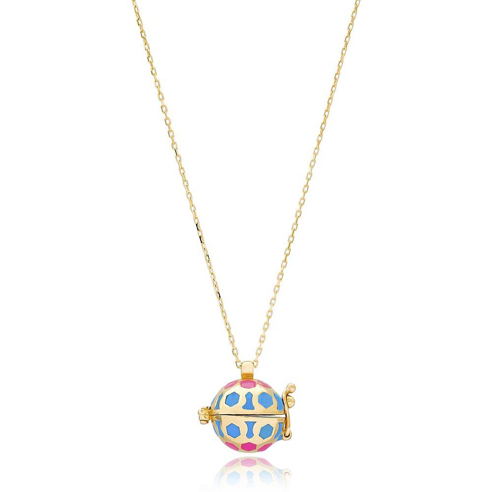 Enamel Angel Caller Wholesale Turkish 14k Gold Necklace