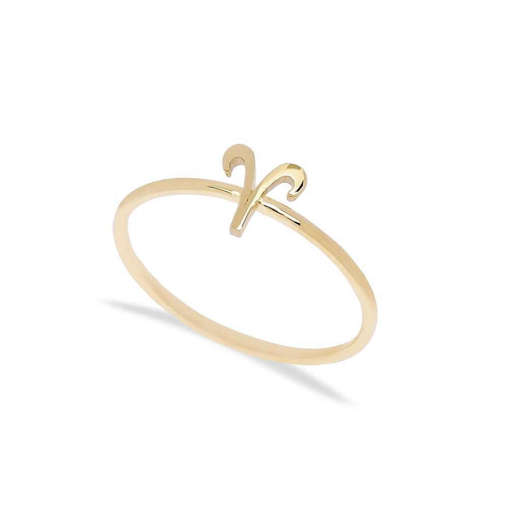 Aries Zodiac Ring 14 k Wholesale Handmade Turkish Gold Jewelry