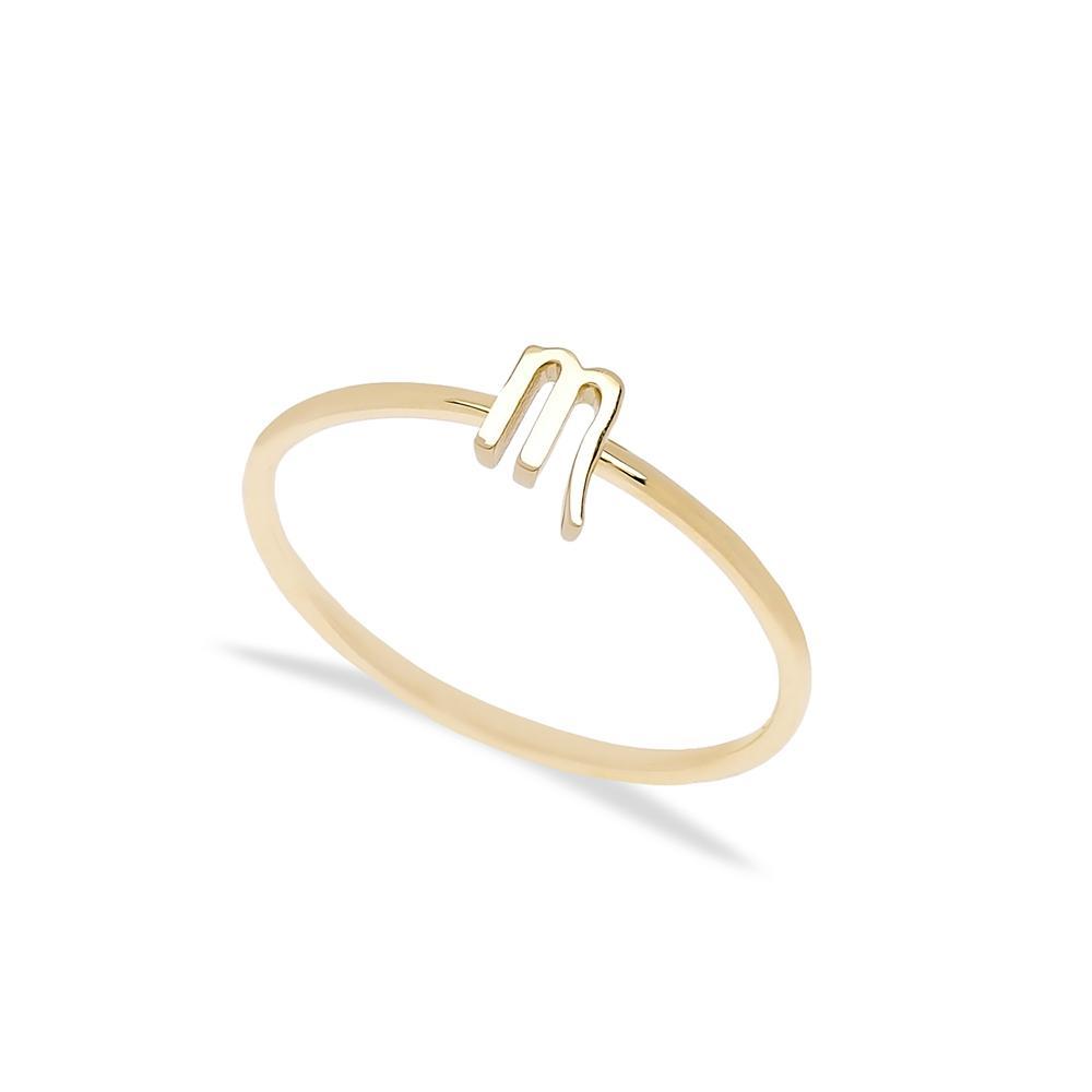 Scorpio Zodiac Ring 14 k Wholesale Handmade Turkish Gold Jewelry