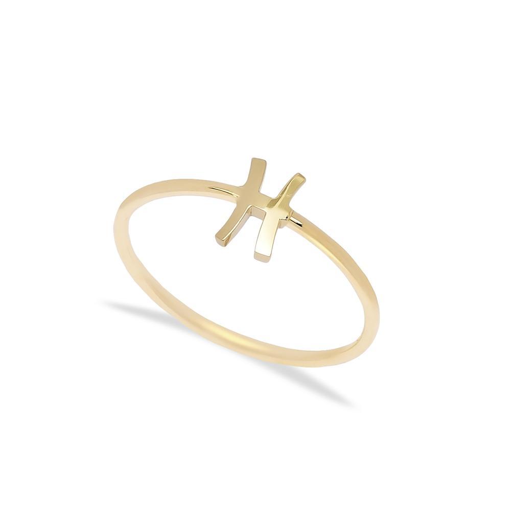 Pisces  Zodiac Ring 14 k Wholesale Handmade Turkish Gold Jewelry