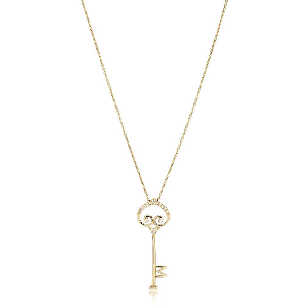 Diamond Key Design Necklace Turkish Wholesale 14k Gold Necklace