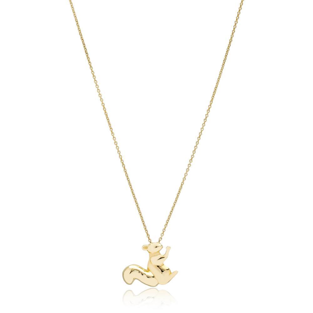 Minimal Squirrel Design Turkish Wholesale 14k Gold Necklace