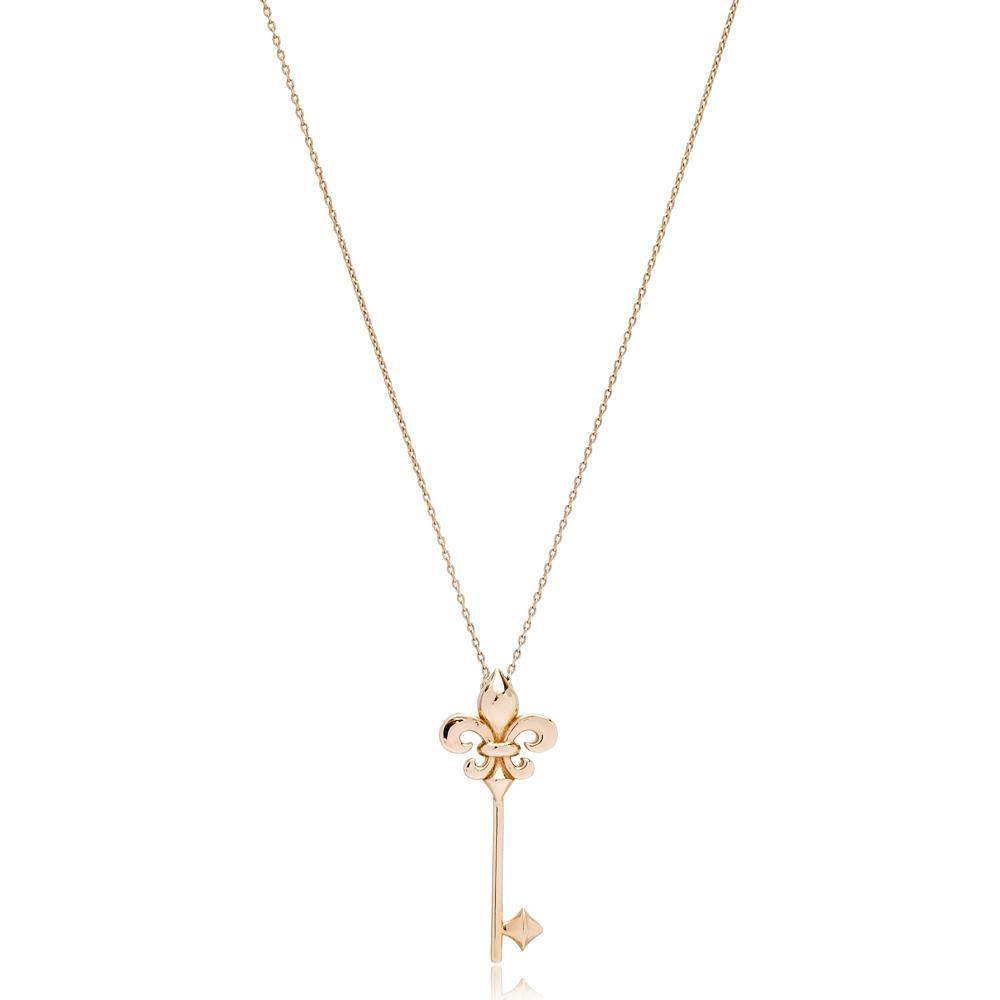 Key Design Turkish Wholesale 14k Gold Necklace