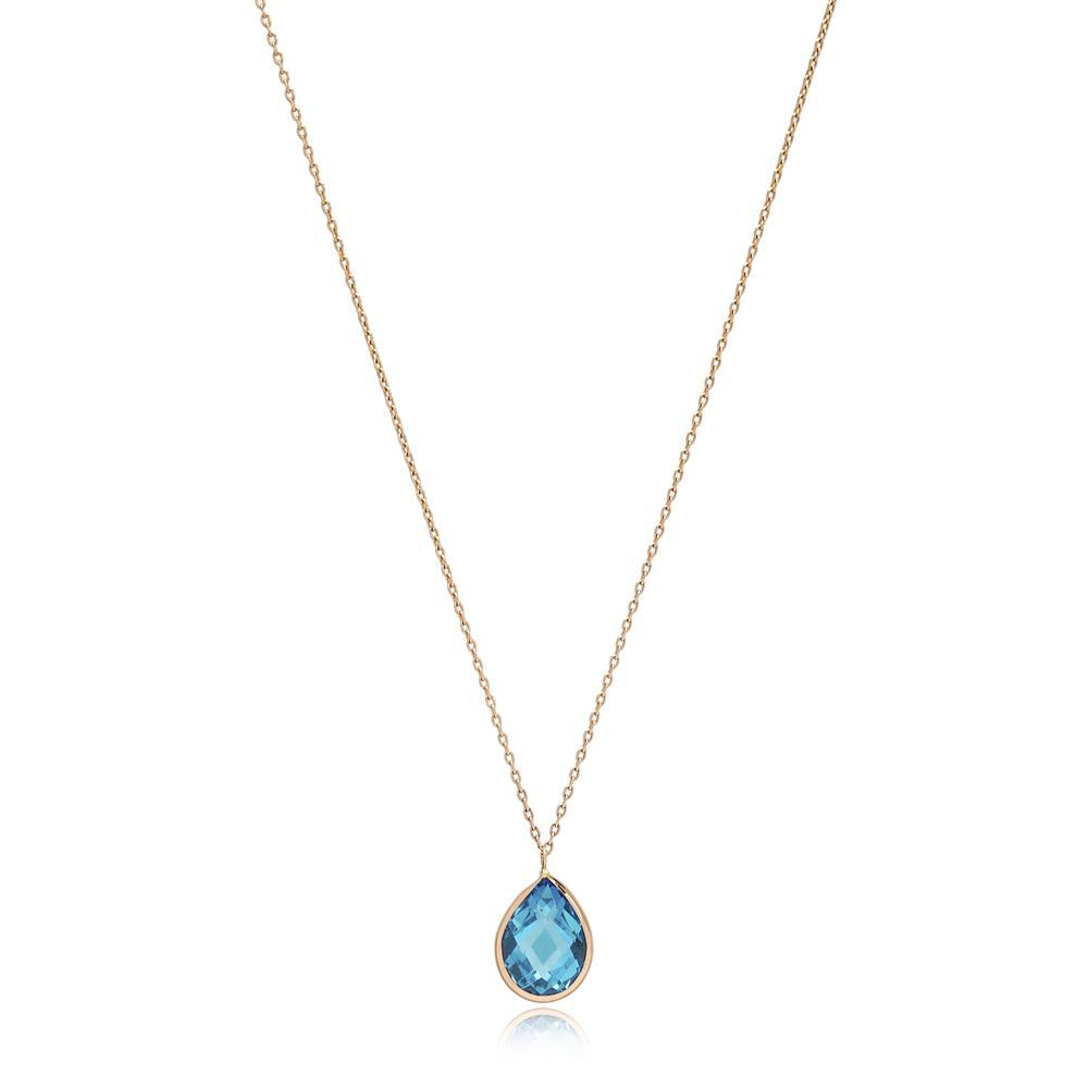 Drop Shape Swiss Blue Topaz Stone Pendant Turkish Wholesale 14k Gold Jewelry