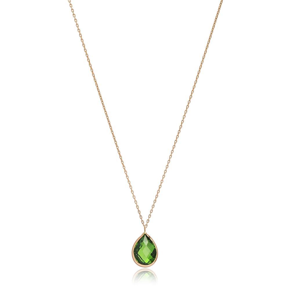 Drop Shape Emerald Stone Pendant Turkish Wholesale 14k Gold Jewelry