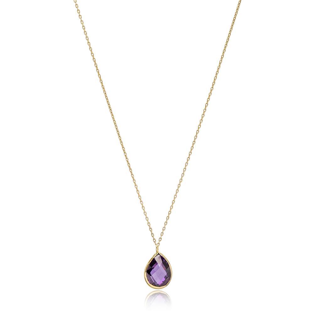 Drop Shape Amethyst Stone Pendant Turkish Wholesale 14k Gold Jewelry