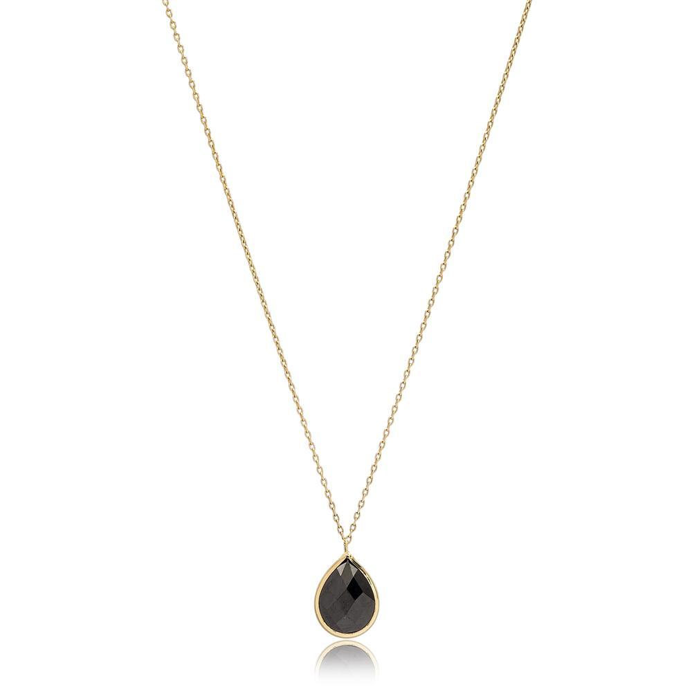 Drop Shape Onyx Stone Pendant Turkish Wholesale 14k Gold Jewelry