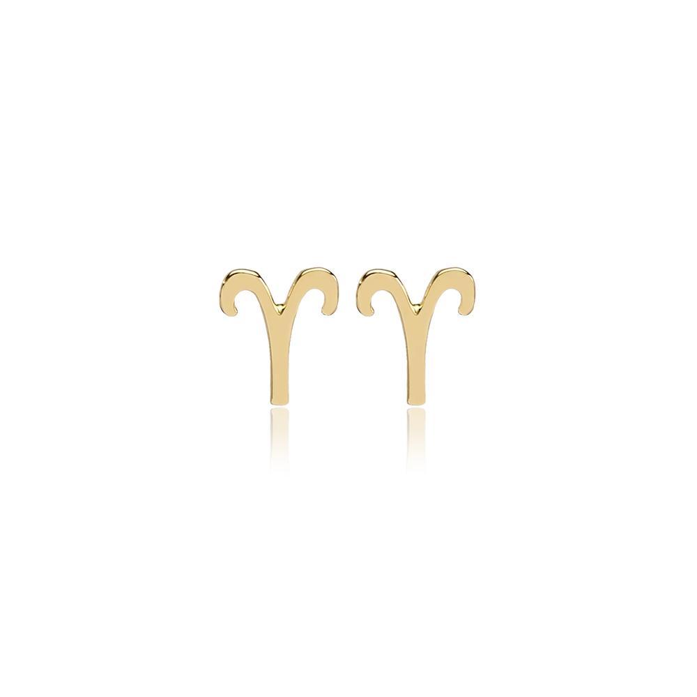 Aries Zodiac Stud Earring Wholesale Turkish 14k Gold Earring