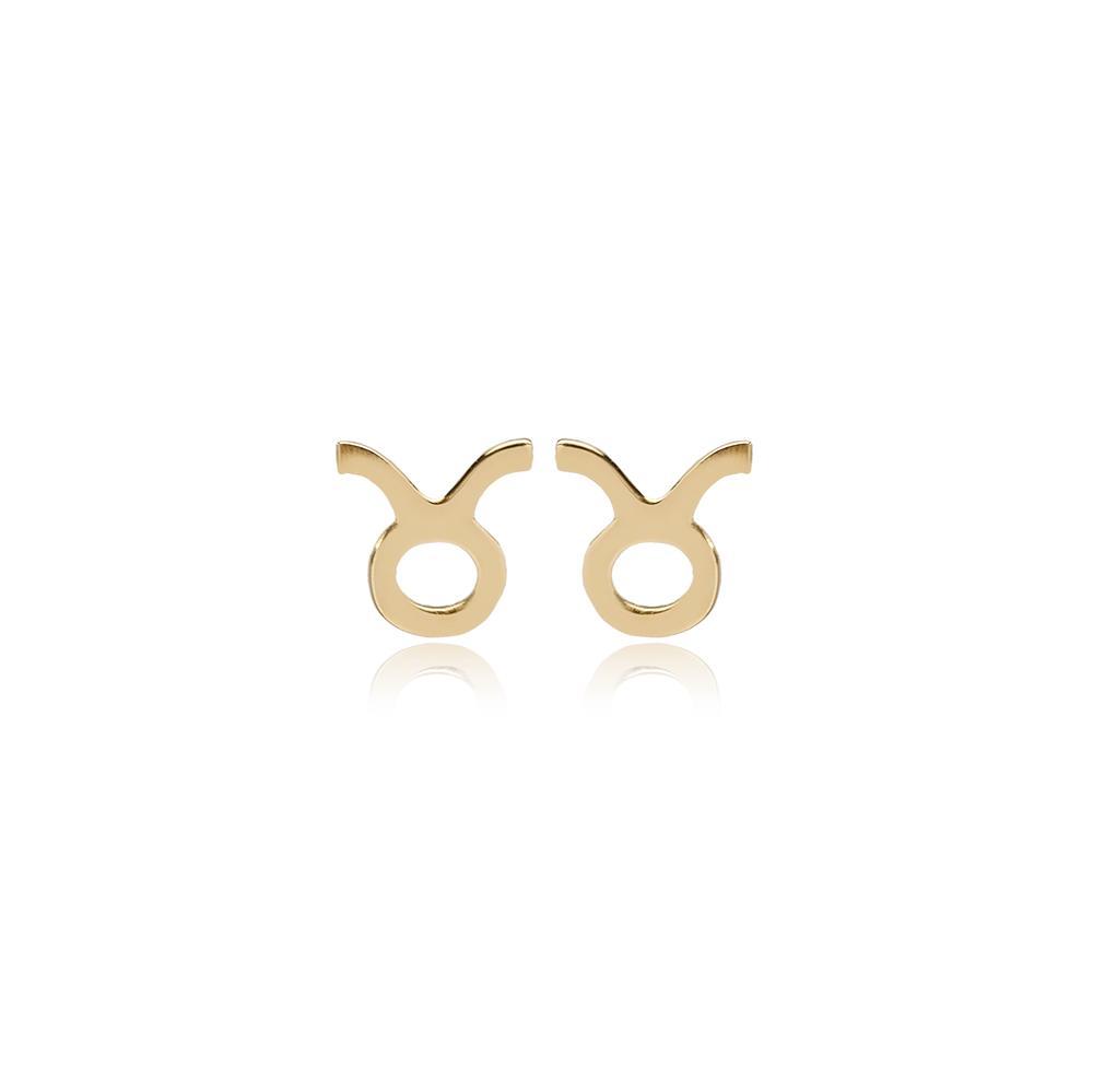 Taurus Zodiac Stud Earring Wholesale Turkish 14k Gold Earring