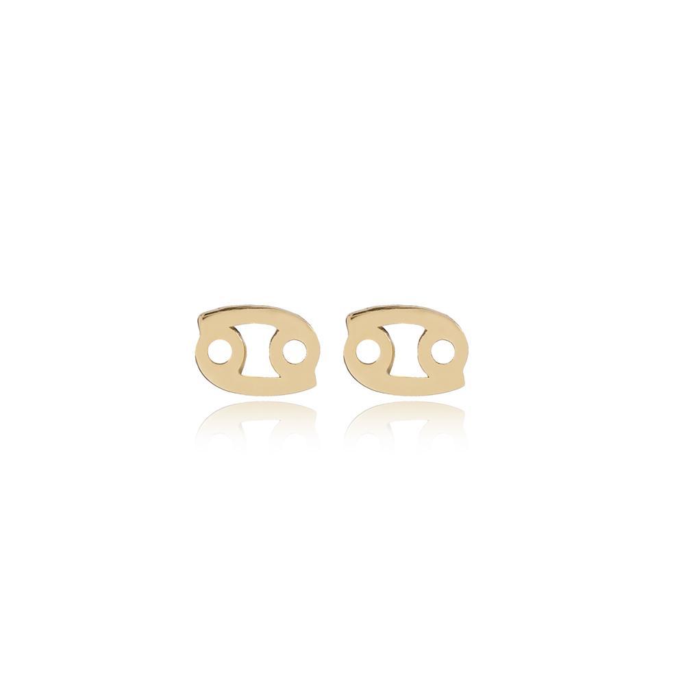 Cancer Zodiac Stud Earring Wholesale Turkish 14k Gold Earring