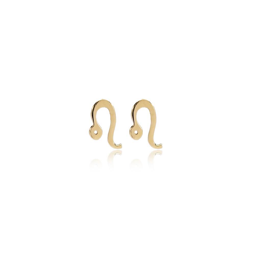Leo Zodiac Stud Earring Wholesale Turkish 14k Gold Earring