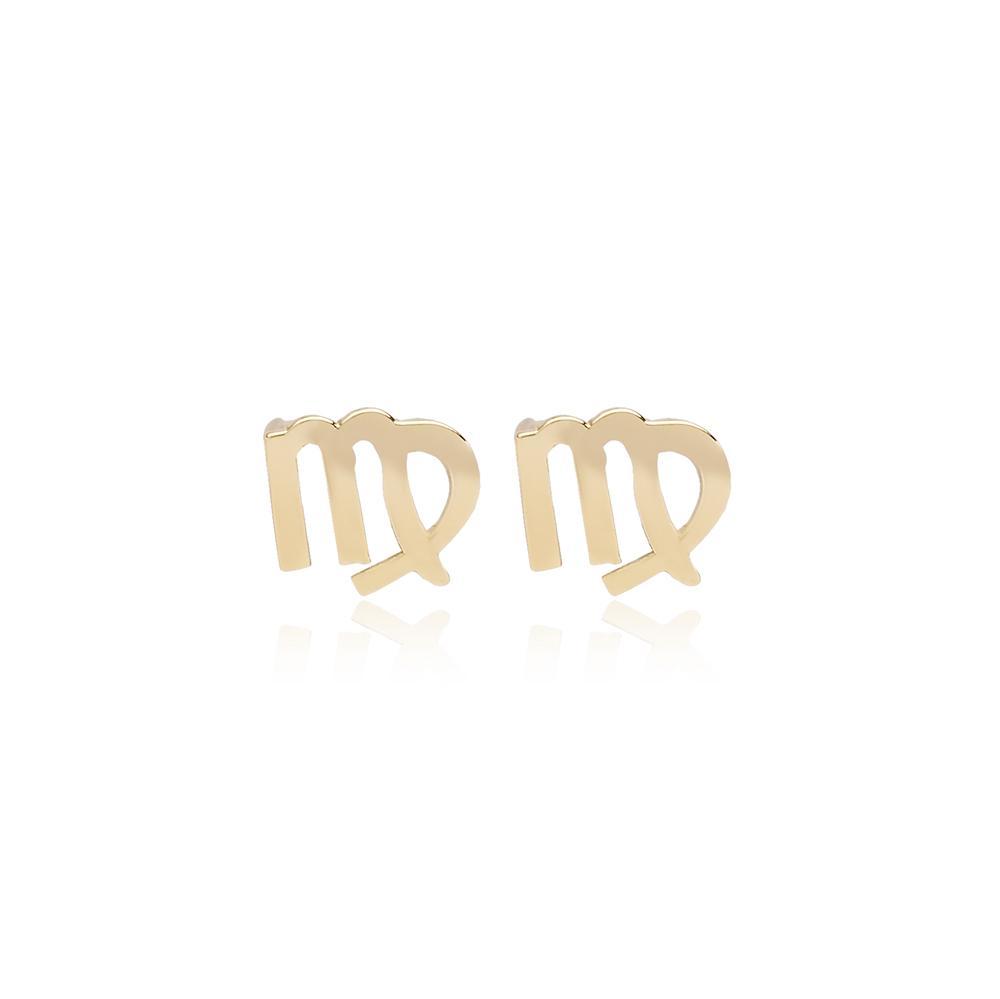 Virgo Zodiac Stud Earring Wholesale Turkish 14k Gold Earring