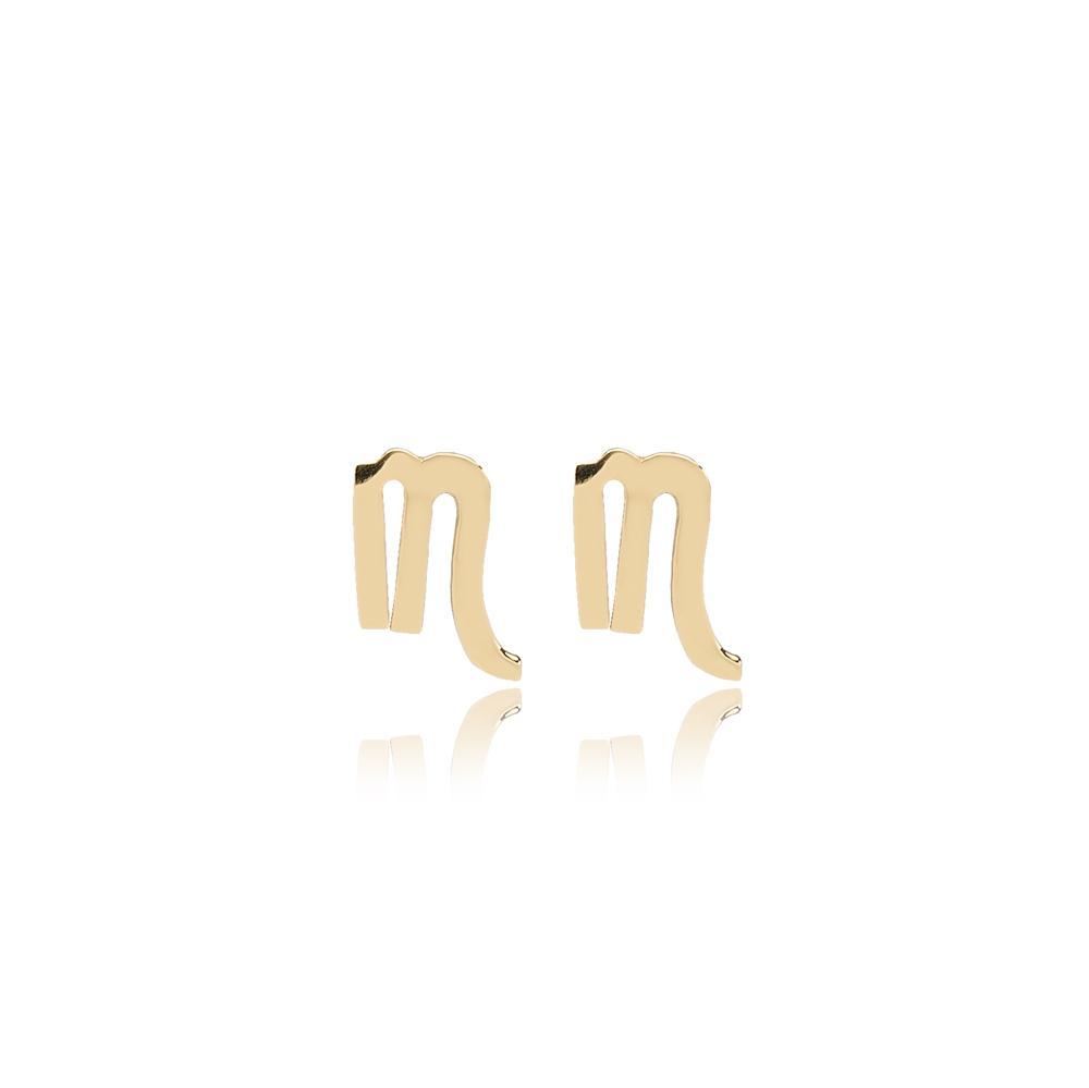 Scorpio Zodiac Stud Earring Wholesale Turkish 14k Gold Earring
