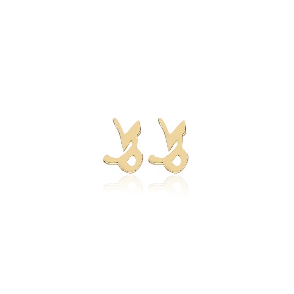 Capricorn Zodiac Stud Earring Wholesale Turkish 14k Gold Earring