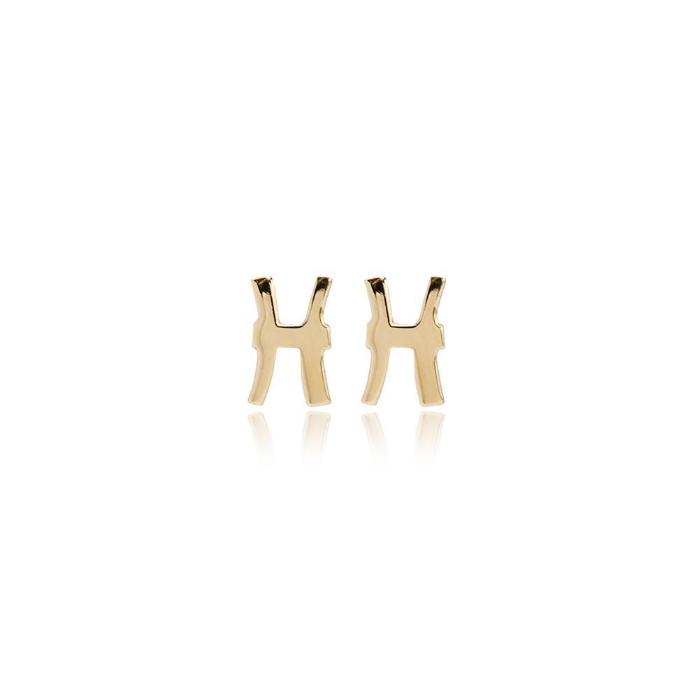Pisces Galaxy Design Dangle Earring Wholesale Turkish 14k Gold Earring