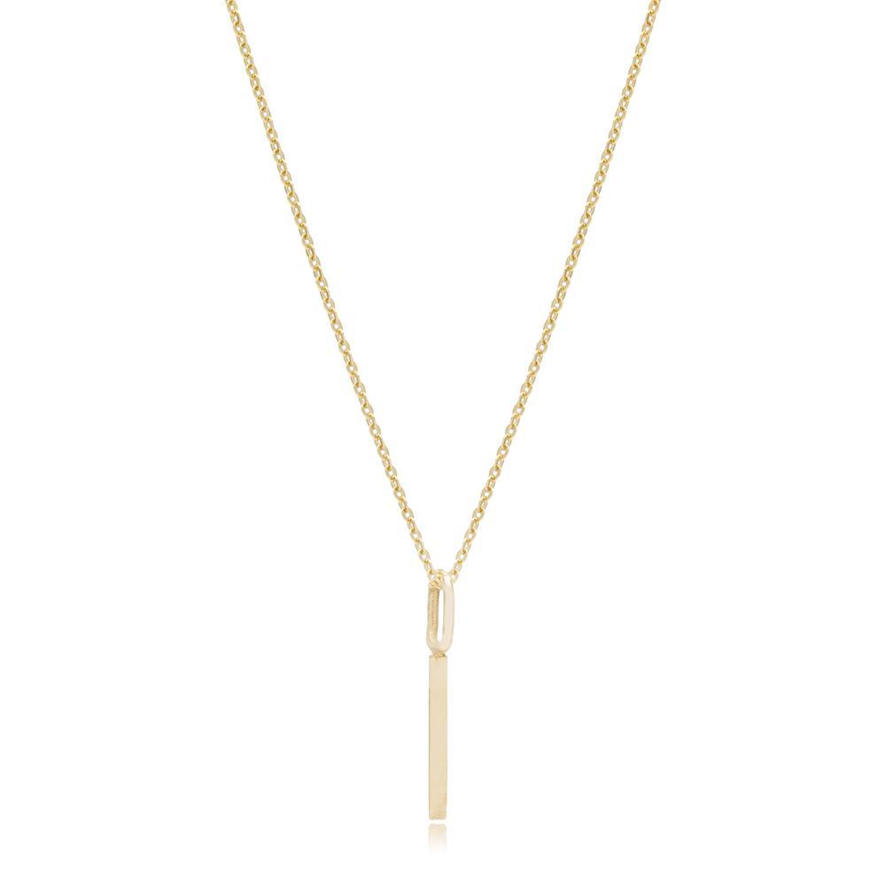 I Letter Pendant Turkish Wholesale 14k Gold Jewelry