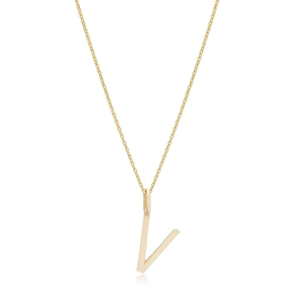 V Letter Pendant Turkish Wholesale 14k Gold Jewelry