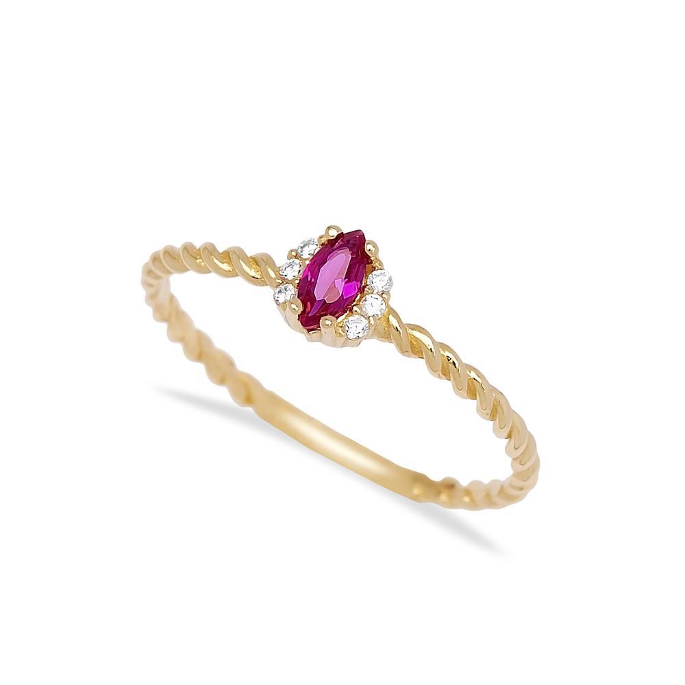 Ruby Marquise Shape Stone Ring 14 k Wholesale Handmade Turkish Gold Jewelry