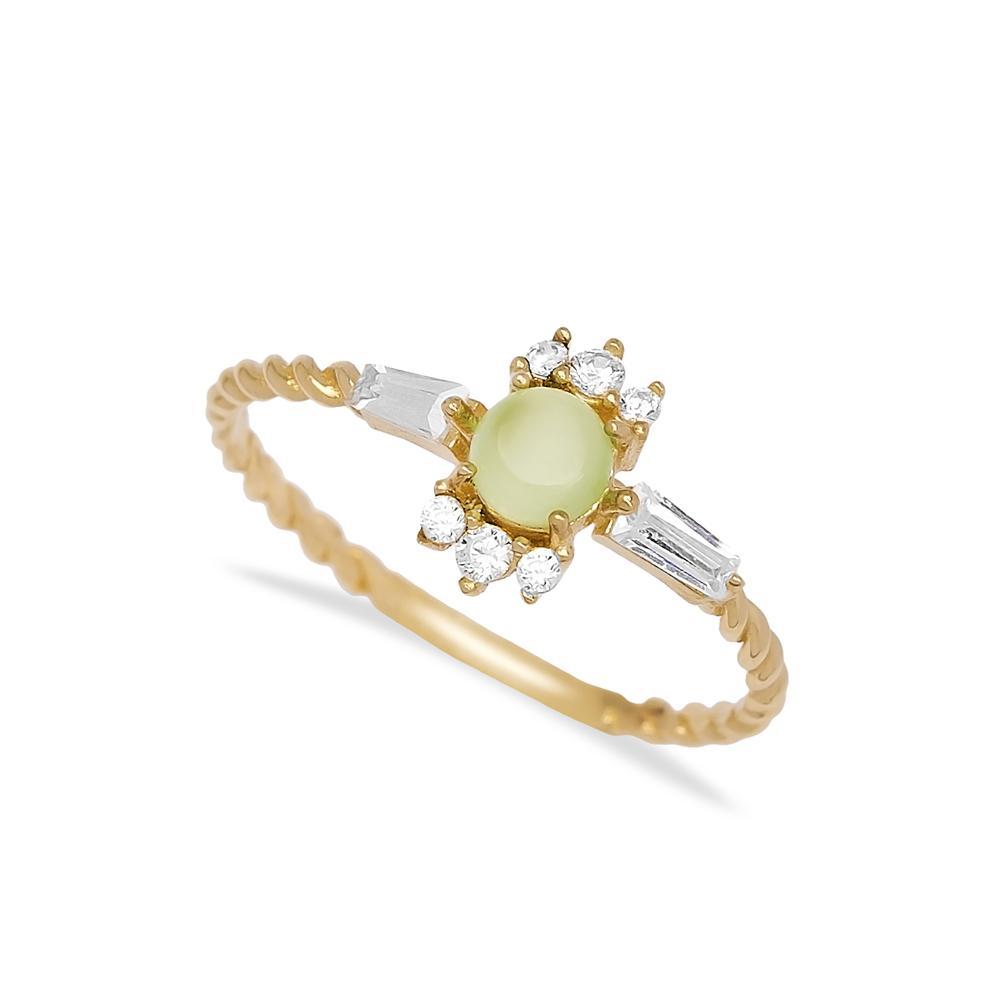 Chalsedony Stone Ring 14 k Wholesale Handmade Turkish Gold Jewelry