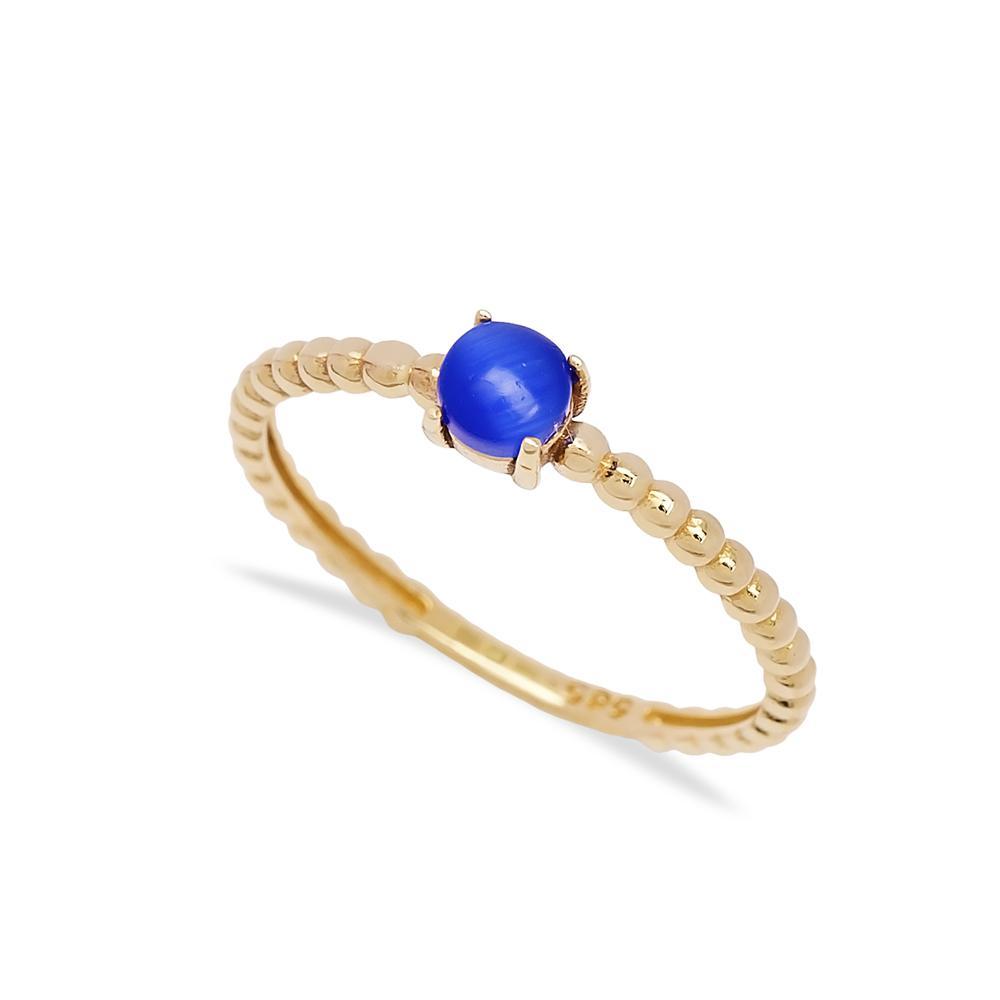 Lapis Cabochon Cut Stone Ring 14 k Wholesale Handmade Turkish Gold Jewelry
