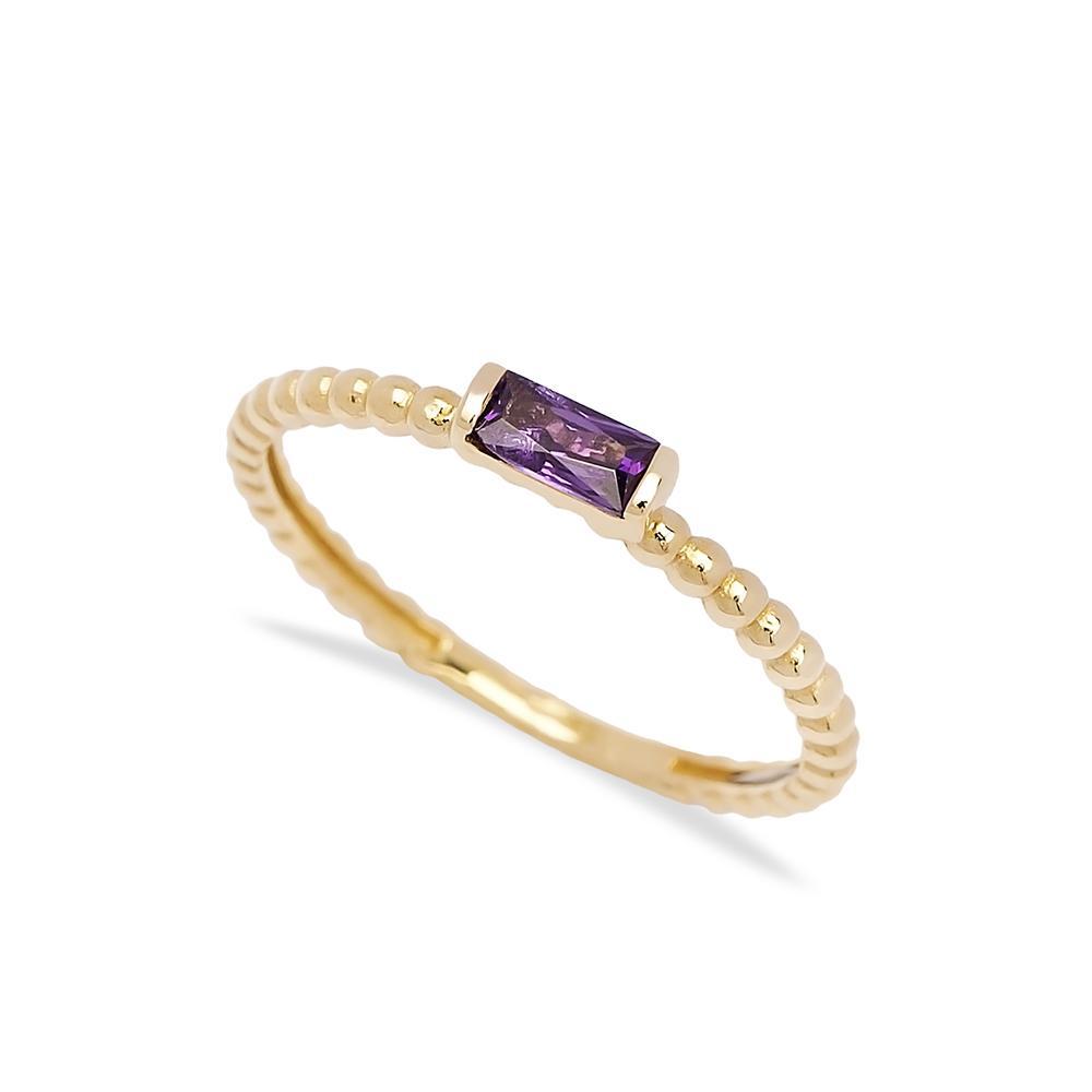 Amethyst Baguette Cut Stone Ring 14 k Wholesale Handmade Turkish Gold Jewelry
