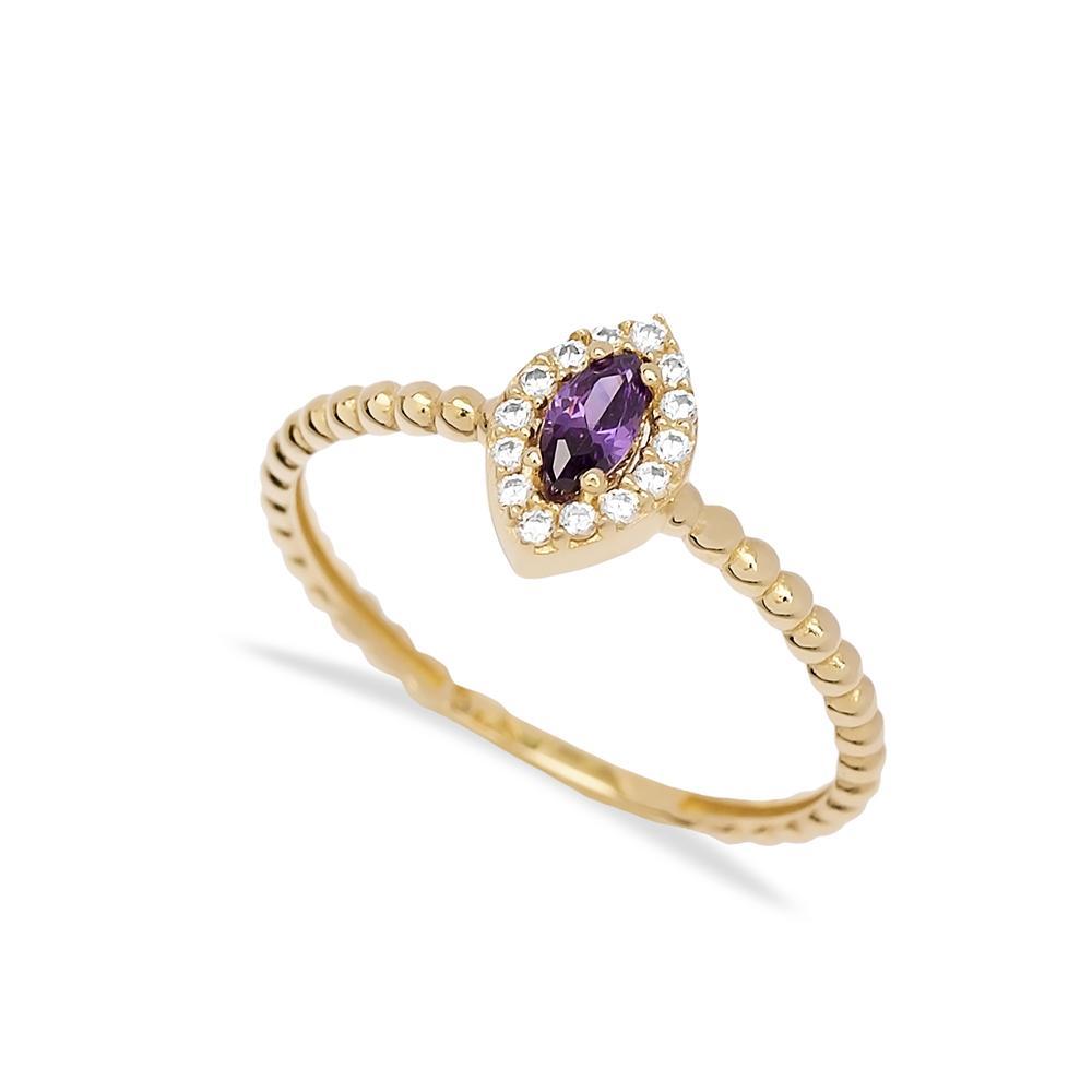 Amethyst Marquise Cut Stone Ring 14 k Wholesale Handmade Turkish Gold Jewelry