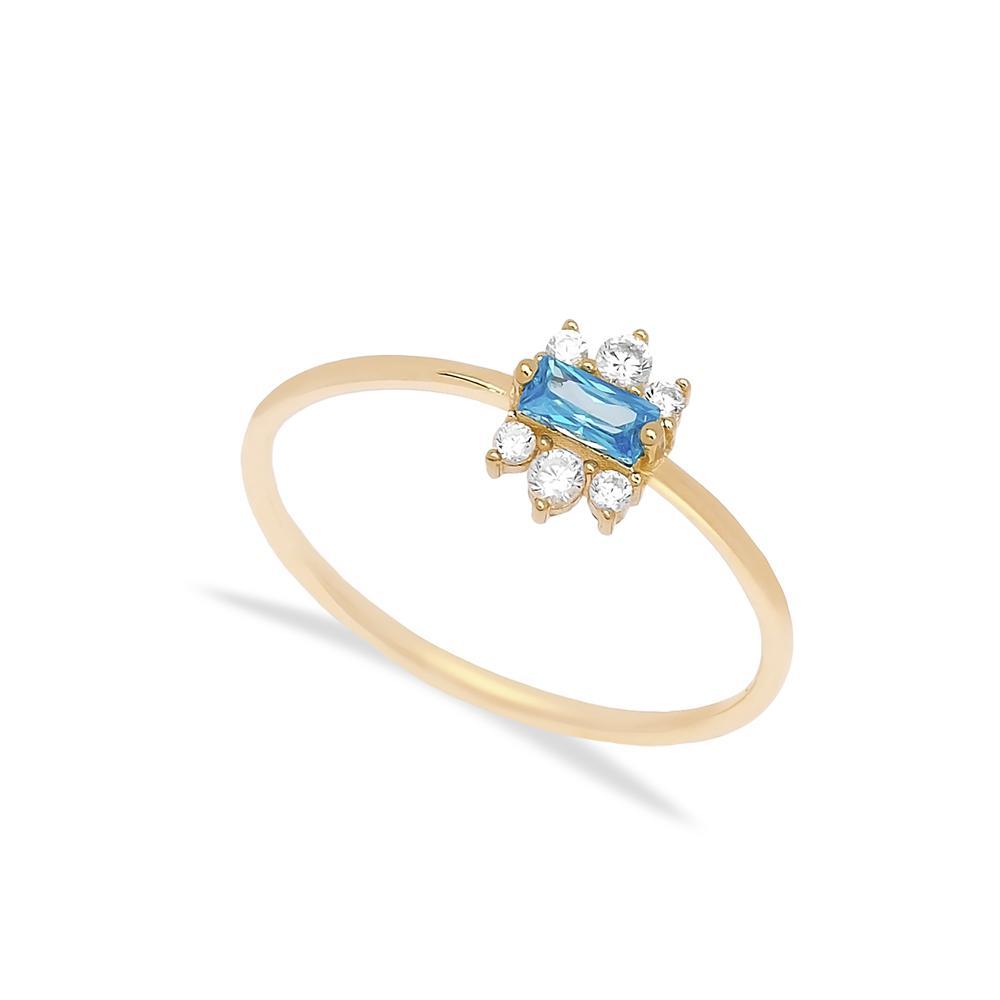 14k Gold Aquamarıne Stone Ring Wholesale Handmade Turkish Gold Jewelry