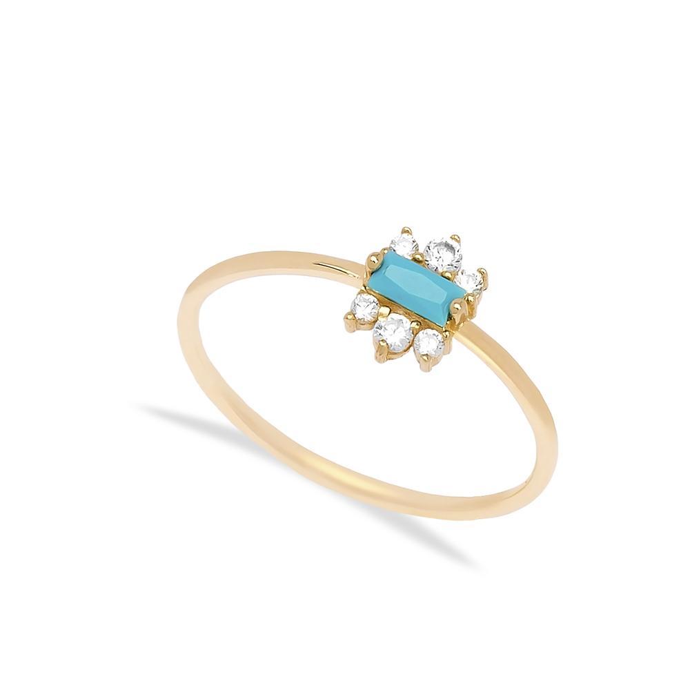 14k Gold Turquoise Stone Ring Wholesale Handmade Turkish Gold Jewelry