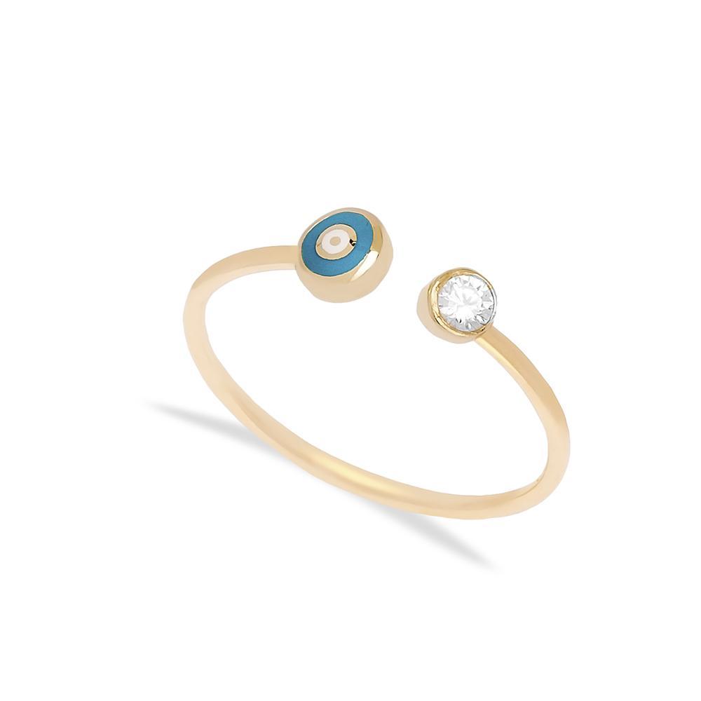 14k Gold Enamel Evil Eye Open Ring Wholesale Handmade Turkish Gold Jewelry