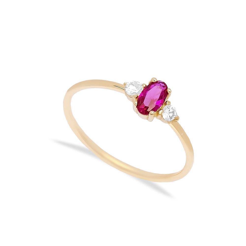 14k Gold Ruby Stone Ring Wholesale Handmade Turkish Gold Jewelry