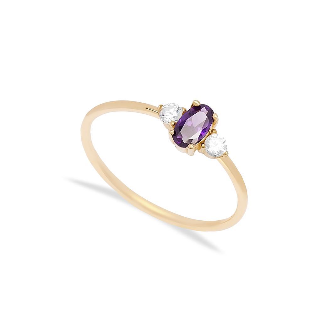 14k Gold Oval Amethyst Stone Ring Wholesale Handmade Turkish Gold Jewelry