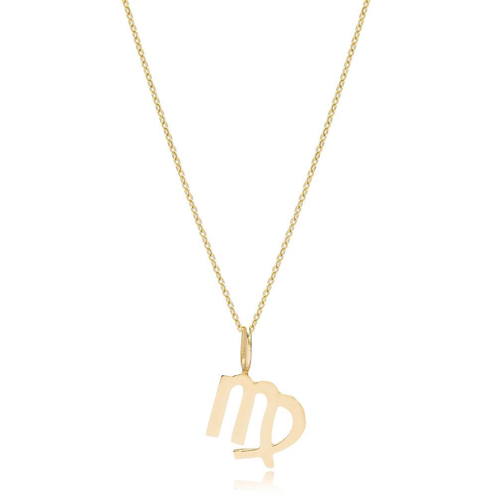 14K Gold Virgo Zodiac Pendant Turkish Wholesale Gold Jewelry
