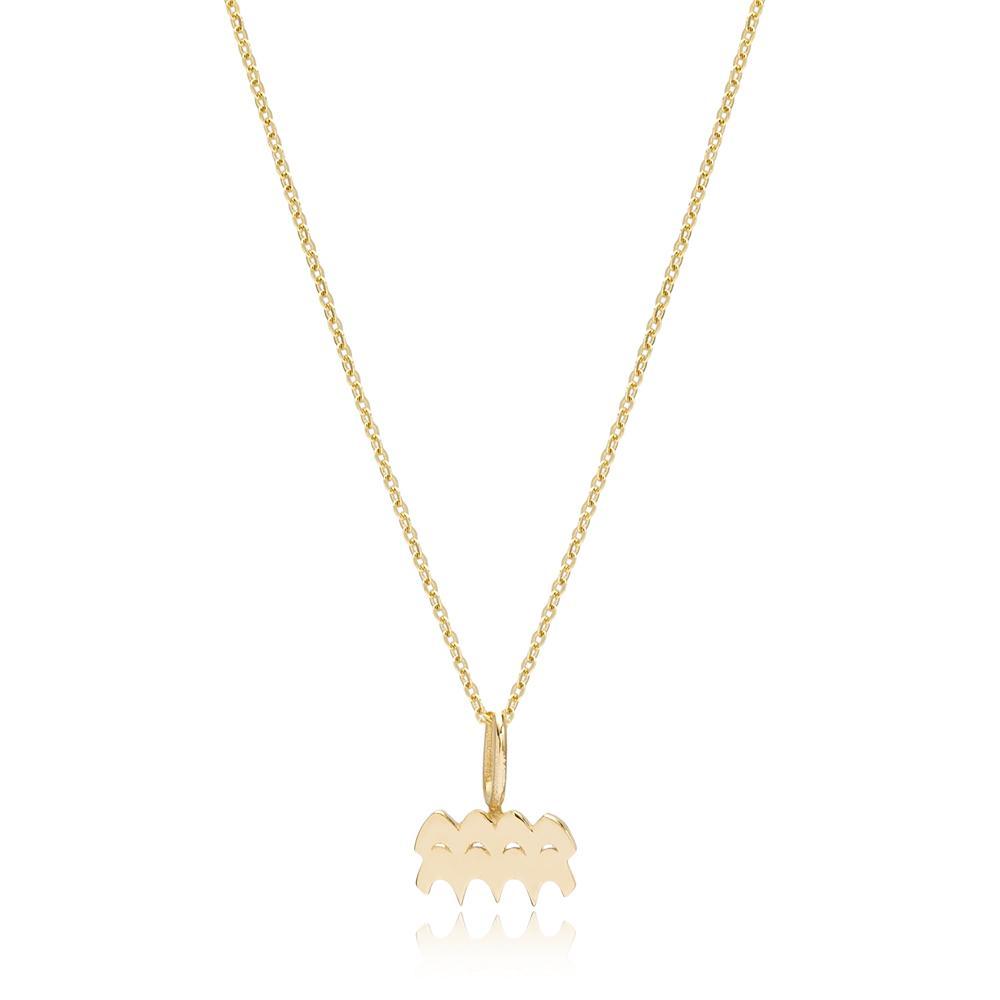 14K Gold Aquarius Zodiac Pendant Turkish Wholesale Gold Jewelry