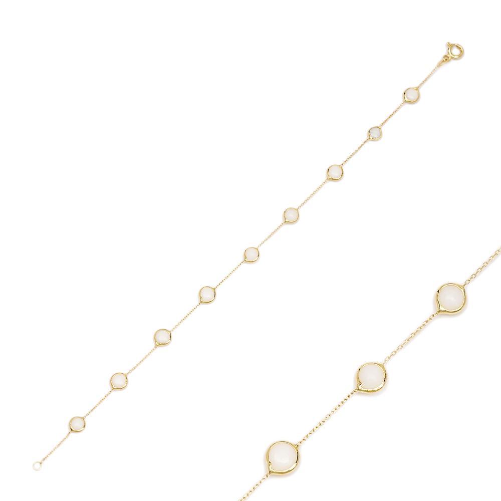 14K Gold White Agate Stone Bracelet Wholesale Handmade Turkish Jewelry