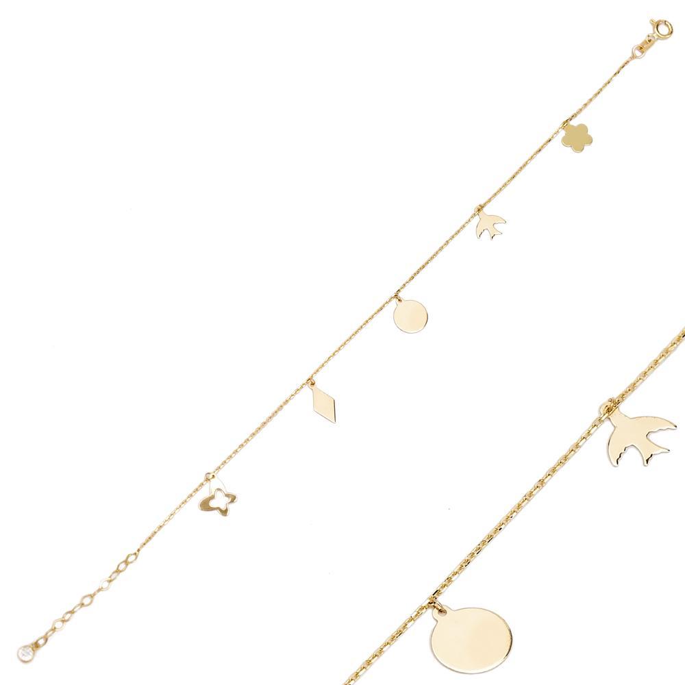 14K Gold Shaker Charm Bracelet Wholesale Handmade Turkish Jewelry