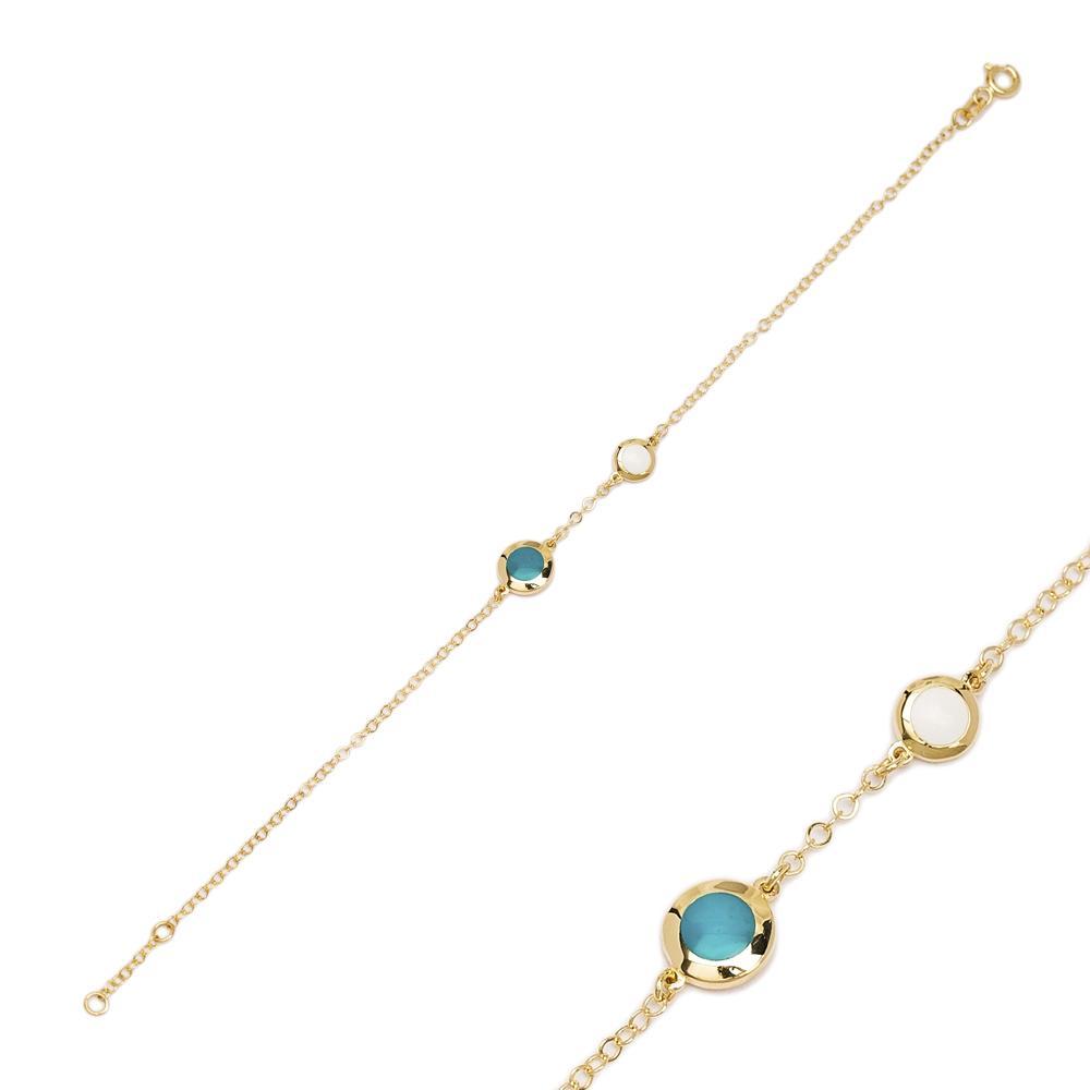 14K Gold Blue Enamel Charm Bracelet Wholesale Handmade Turkish Jewelry