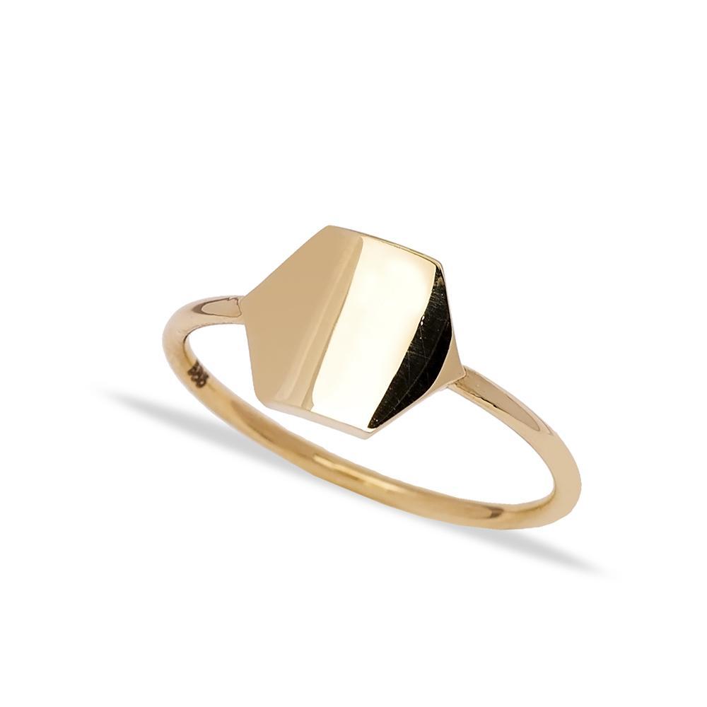 14k Solid Gold Hexagon Ring Wholesale Handmade Turkish Gold Jewelry
