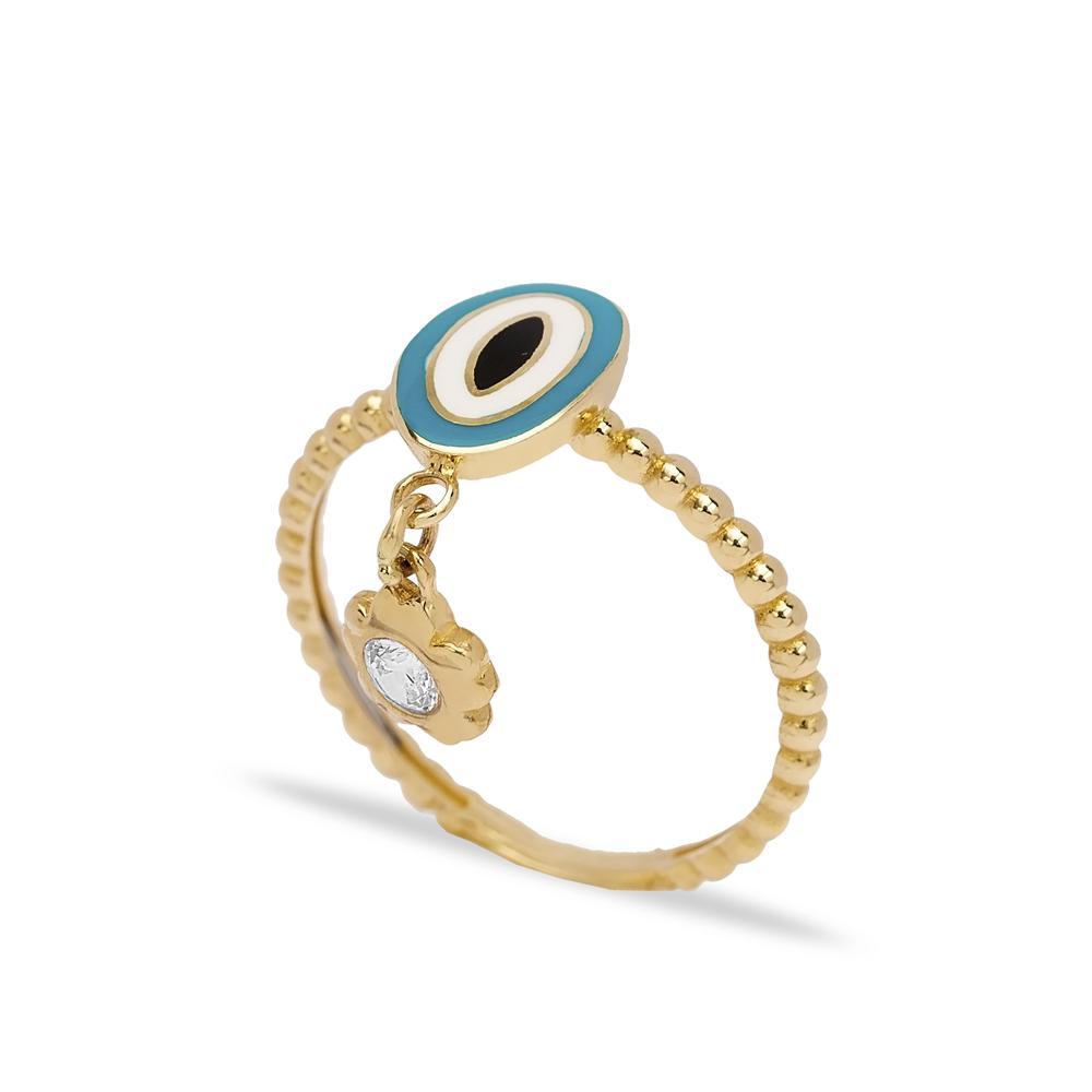 14k Solid Gold Enamel Evil Eye Ring Wholesale Handmade Turkish Gold Jewelry