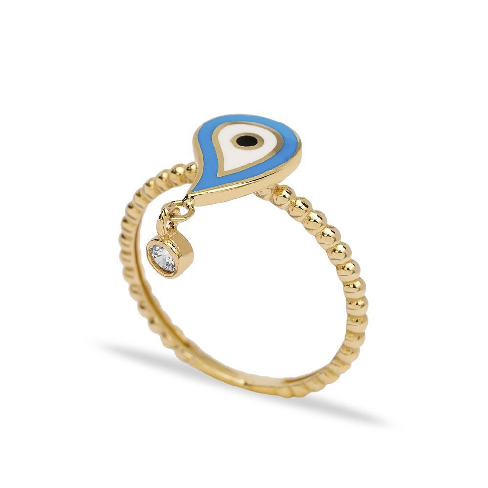 14k Solid Gold Teardrop Shape Evil Eye Ring Wholesale Handmade Turkish Gold Jewelry