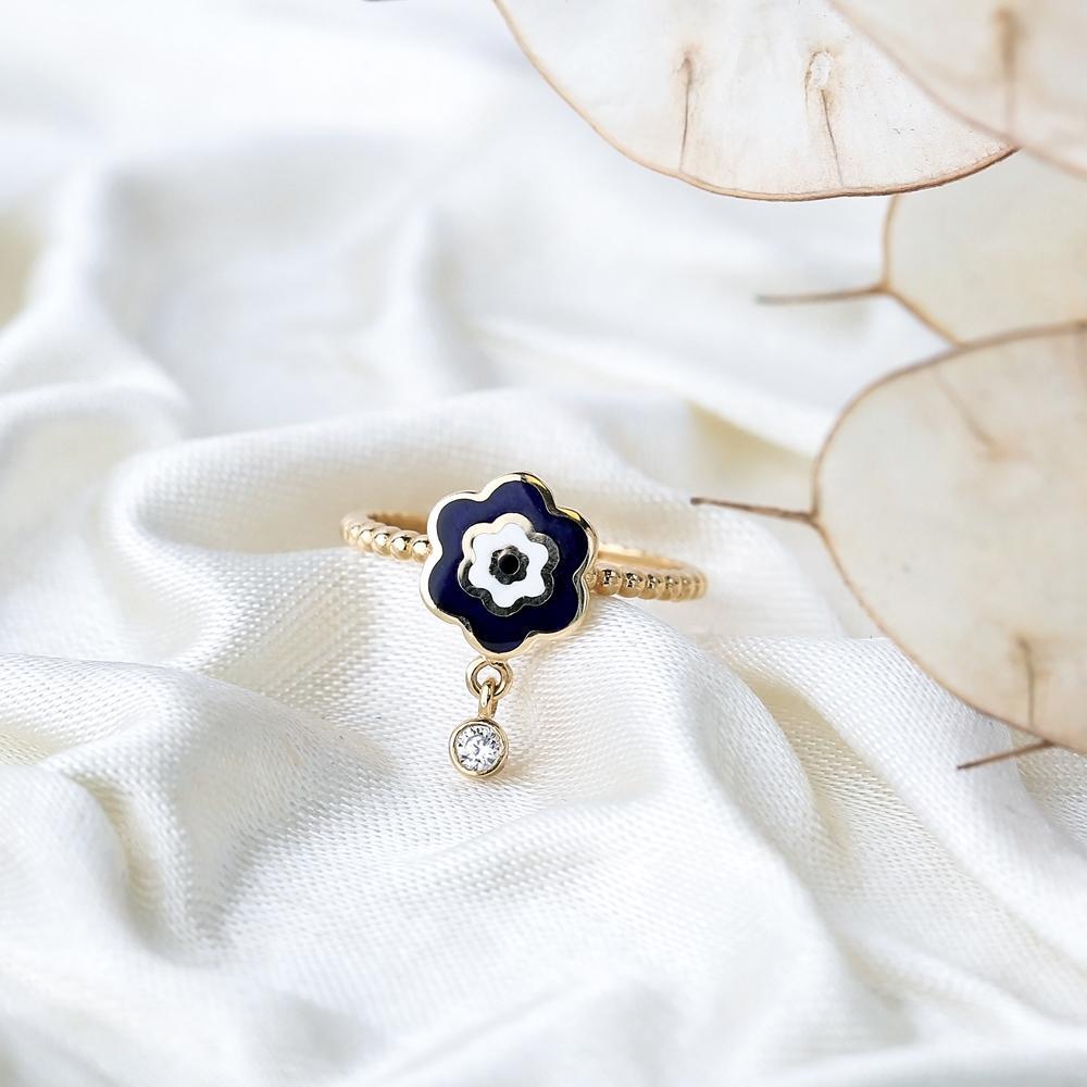 14k Solid Gold Flower Evil Eye Dangle Ring Wholesale Handmade Turkish Gold Jewelry