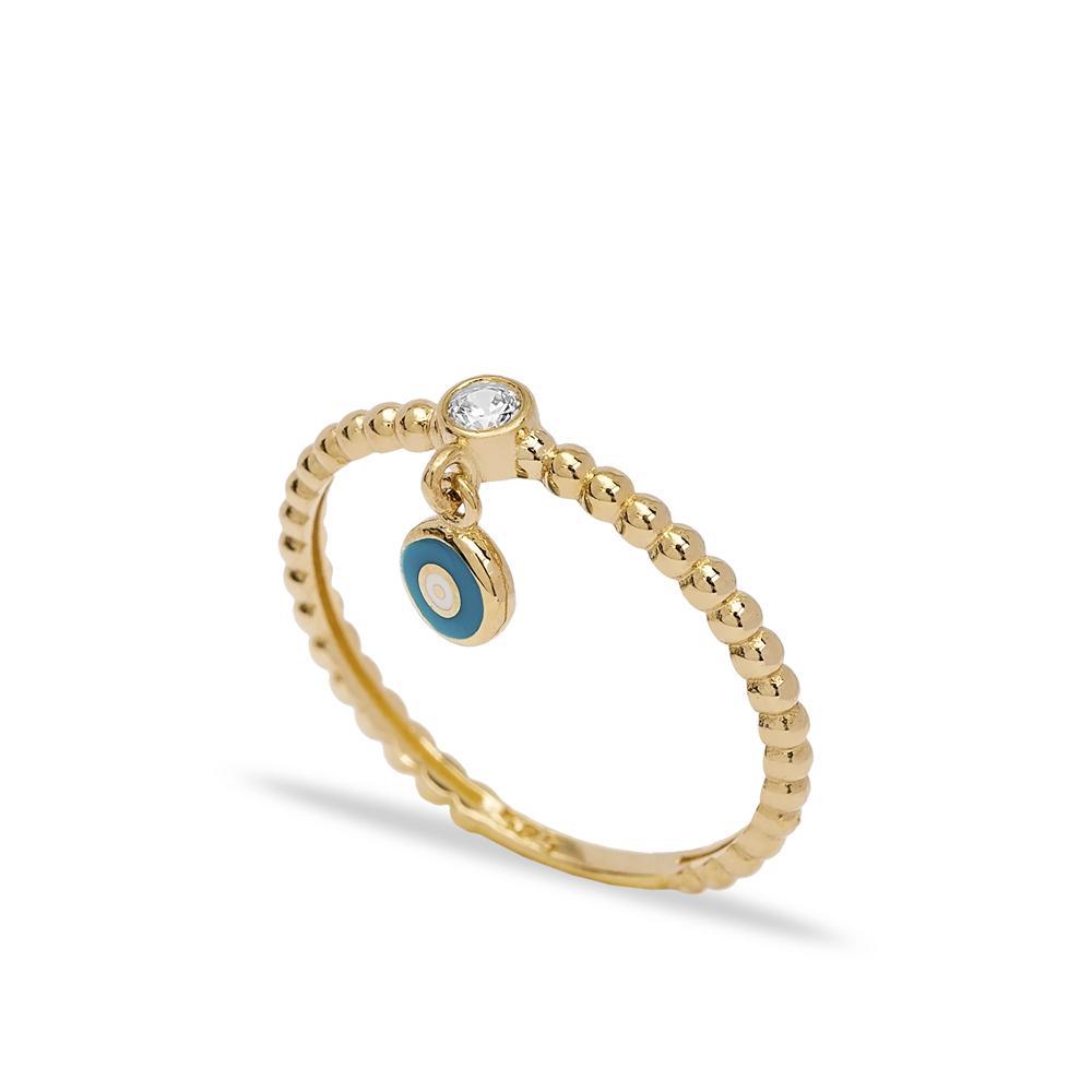 14k Solid Gold Evil Eye Dangle Ring Wholesale Handmade Turkish Gold Jewelry