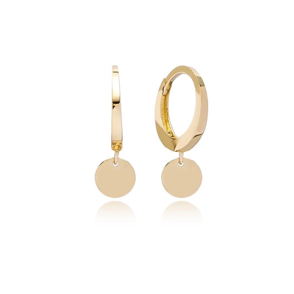 Coin Charm Hoop Earring Wholesale Turkish 14k Gold Earrings