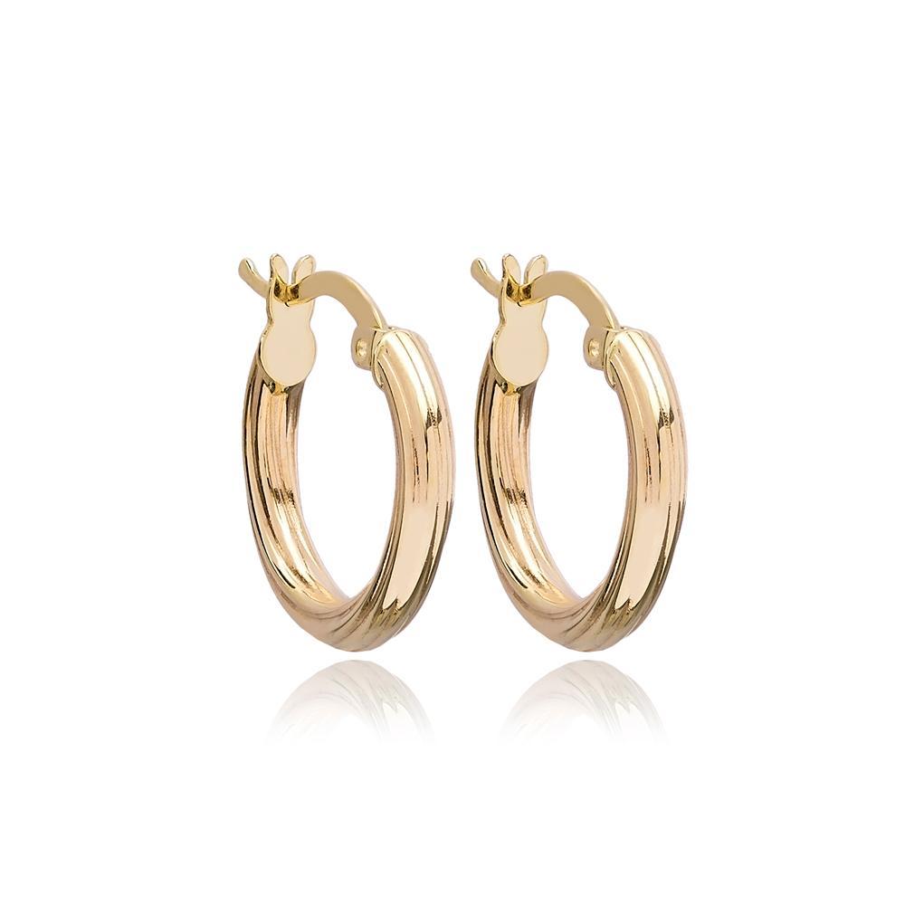 Roped Hoop Earring Wholesale Turkish 14k Gold Earrings