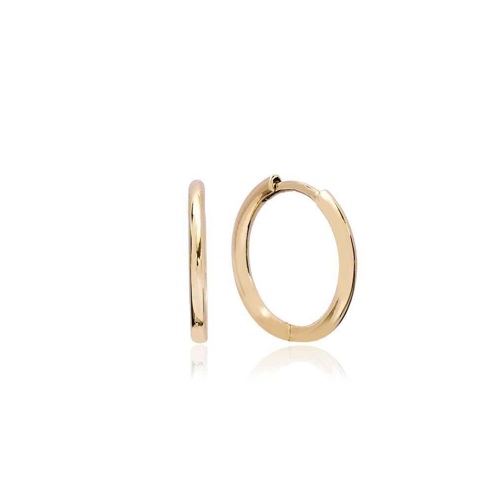 Minimalist Hoop Earring Wholesale Turkish 14k Gold Earrings